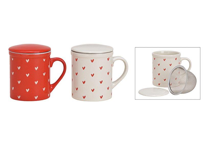 tea mug heart decor with metal sieve ceramic white, red 2-ass., 11x10x8cm