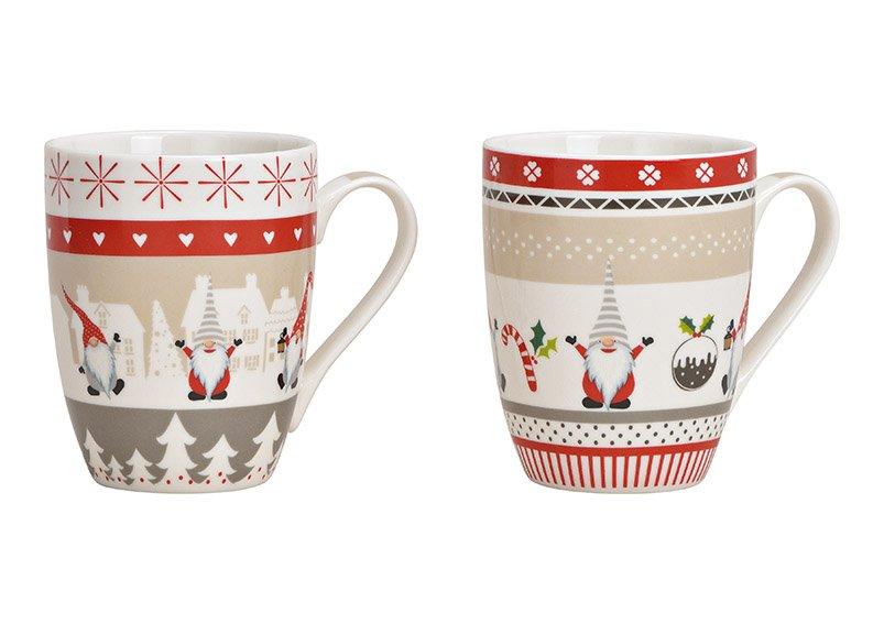 Becher Weihnachtswichtel Dekor aus Porzellan Bunt 2-fach, (B/H/T) 12x10x8cm 340ml
