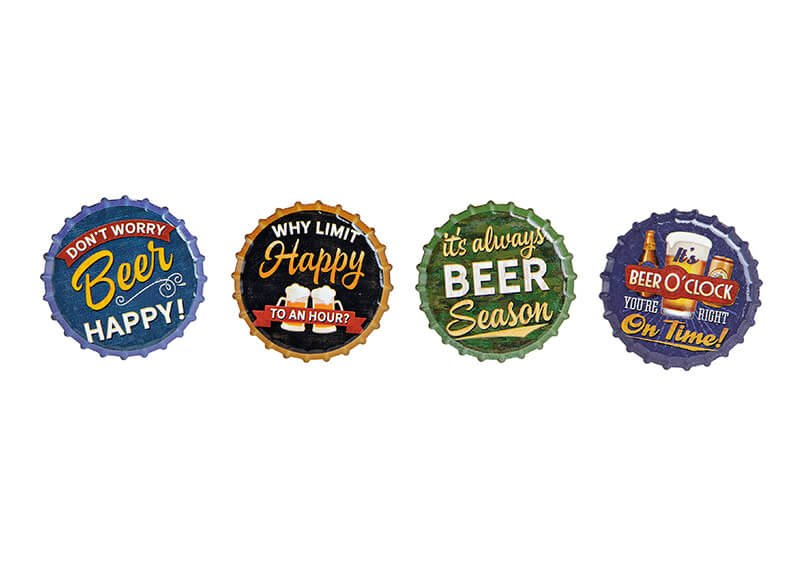 Magnet Beer, ceramic, 4 assorted, (W/H) 7x7cm