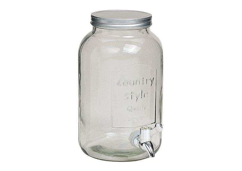 Fass aus Glas mit Zapfhahn, B15 x H26 cm, 3,5 Liter