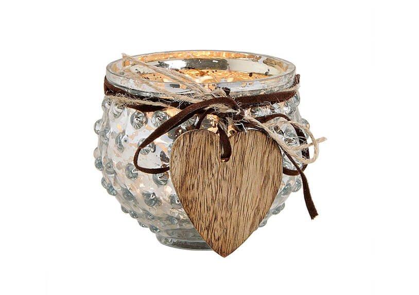 Windlight glass silver with hanger wood heartshape (W/H/D) 9x8x9 cm Ø9 cm