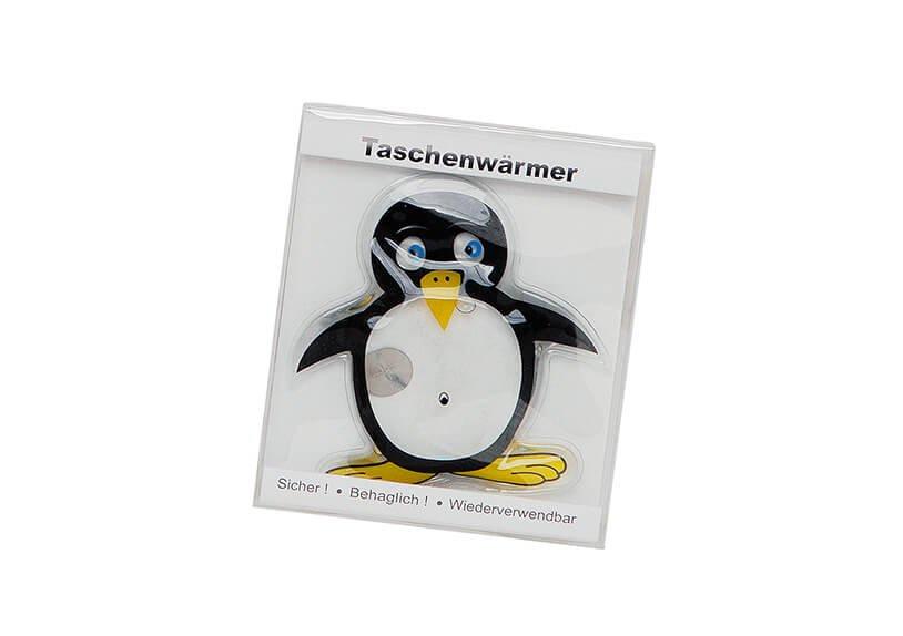 Taschenwärmer Pinguin aus Kunststoff, B10 x H10 cm