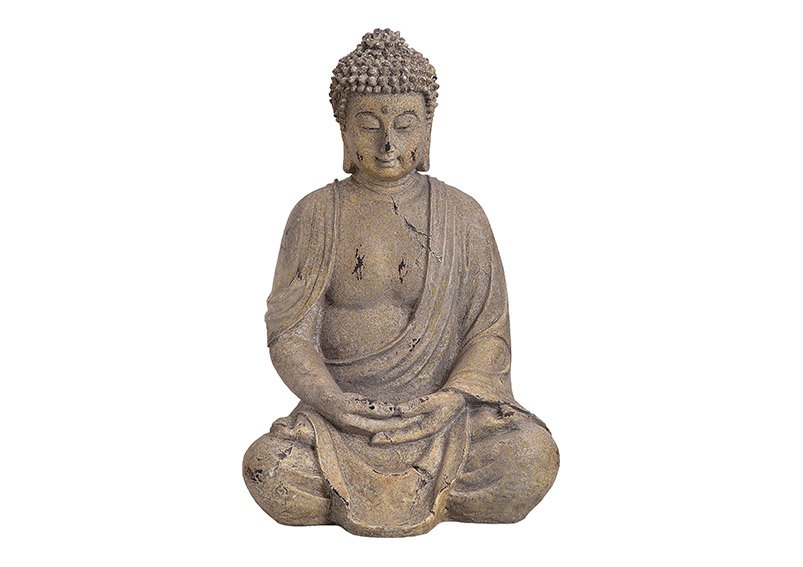 Buddha, Magnesium, poly, grey 21x39x20cm