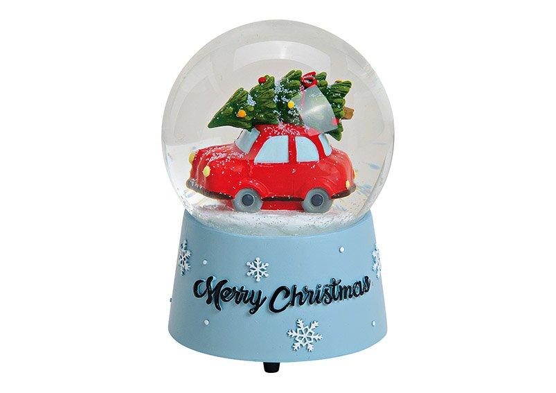 Spieluhr/Schneekugel Weihnachtsauto Merry Christmas aus Poly, Glas Bunt (B/H/T) 10x14x10cm