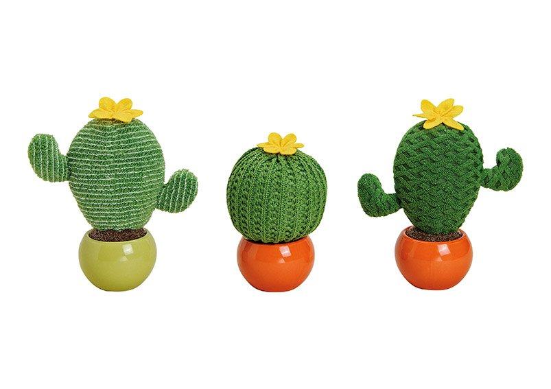 Cactus textile in ceramic pot, green, 3 assorted (W/H/D) 17x18x8cm