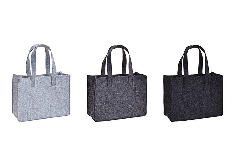 Tasche mit Henkel aus Filz Grau 3-fach, (B/H/T) 35x27x15cm