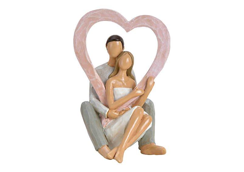 Liebespaar mit Herz aus Poly Pink/Grau/Weiß (B/H/T) 10x16x10cm