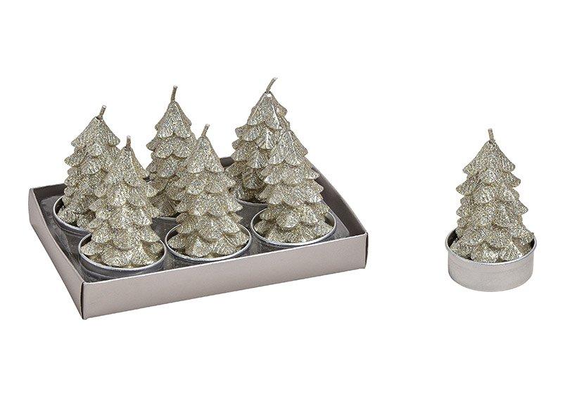 Tealight set tree 4x7cm wax champangner set of 6, 14x8x9cm