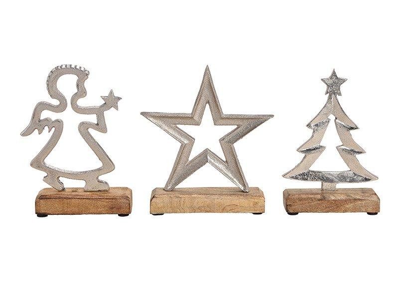 Star, tree, angel, metal mangowood, silver 3 asst.  (h) 25cm