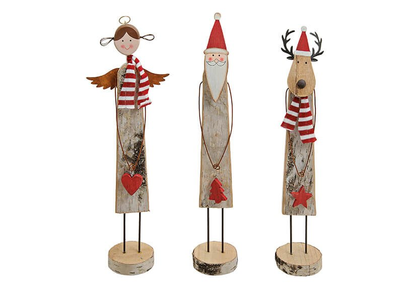 Santa/elk/angel wood 3-ass 7x7x40cm