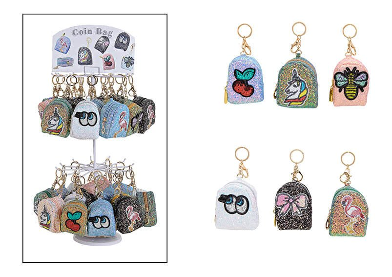 Keyring on stand bag sequined, textile, 6 assorted, (W/H/D) 5x10x5cm