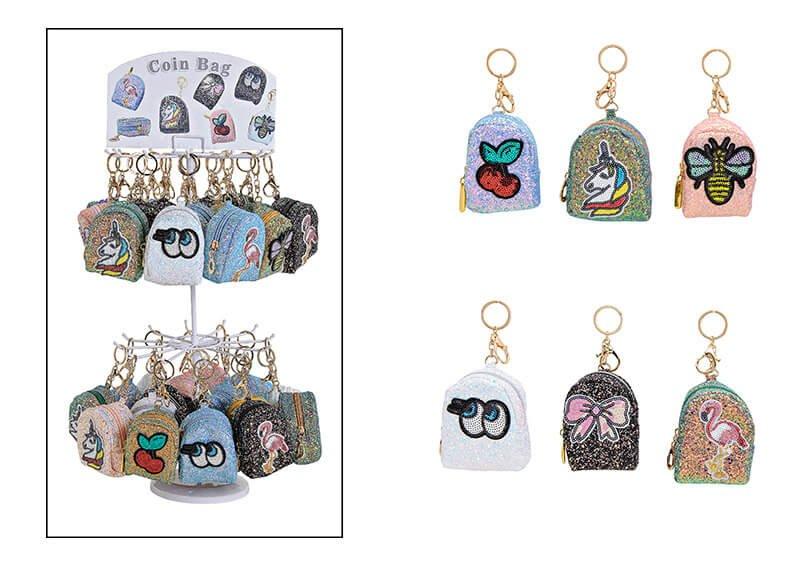 Schlüsselanhänger auf Ständer Tasche mit Pailletten aus Textil Bunt 6-F.S., (B/H/T) 5x10x5cm