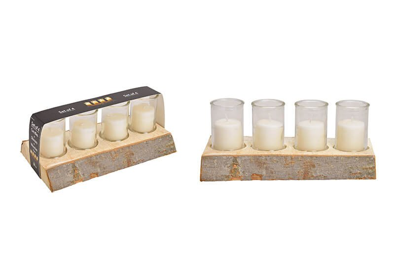 Lantern set, set of 4 on wooden base 29x12x4cm, glass 6x8.5cm, candle 4.3x4.8cm made of glass champagne (w / h / d) 29x14x12cm