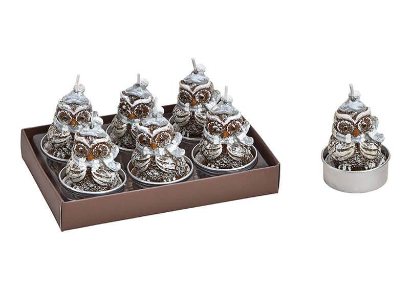 Tealight set, owl, 4x5cm, silver, set of 6, 13x6x9cm