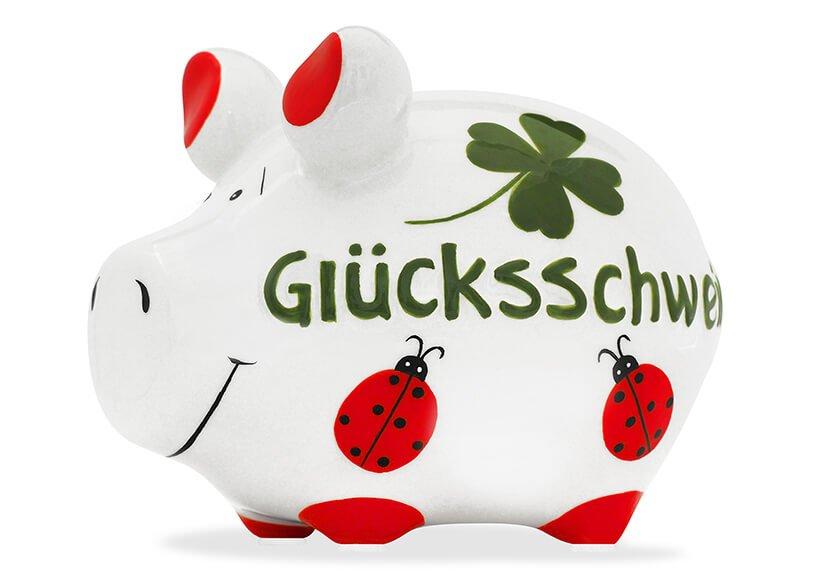 Spardose KCG Kleinschwein, Glücksschwein, aus Keramik, Art. 100784 (B/H/T) 12,5x9x9 cm
