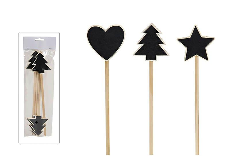 TREE/STAR/HEART SET WOOD 4PCS 3-ASS 7X28CM