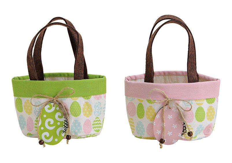 Tasche mit Ei als Anhänger aus Textil Bunt 2-fach, (B/H/T) 16x11x11cm