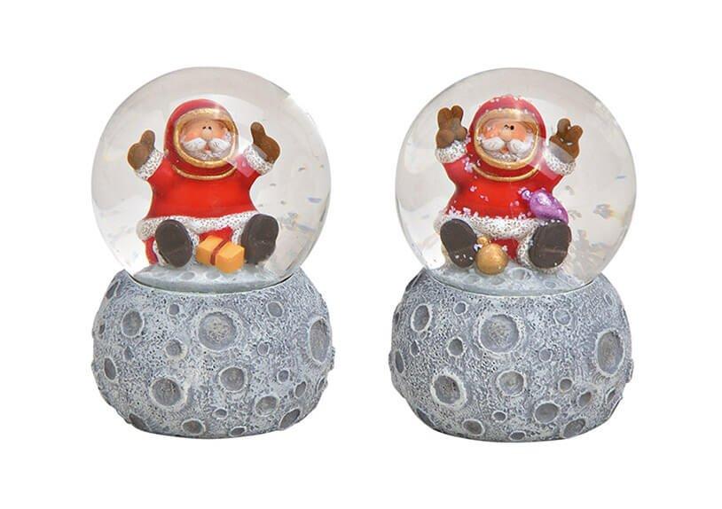 Schneekugel Nikolaus, auf Mond Sockel aus Poly, Glas Bunt 2-fach, (B/H/T) 4x7x4cm
