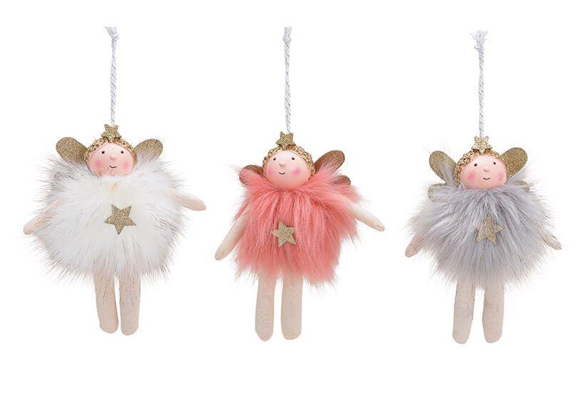 Hanger angel textile pink/rose white/grey 3-asst. 7x16x7cm
