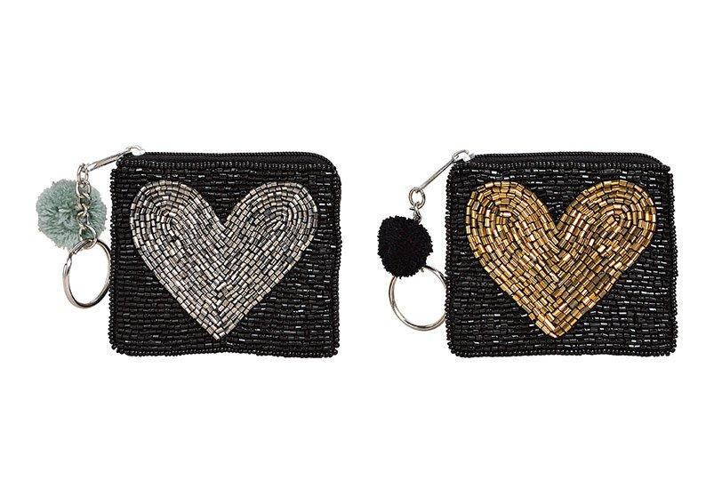 Geldbörse Indien, Glasperlen mit Schlüsselring, Herz Dekor aus Textil Schwarz, Herz in gold, silber 2-fach, (B/H/T) 8x7x1cm