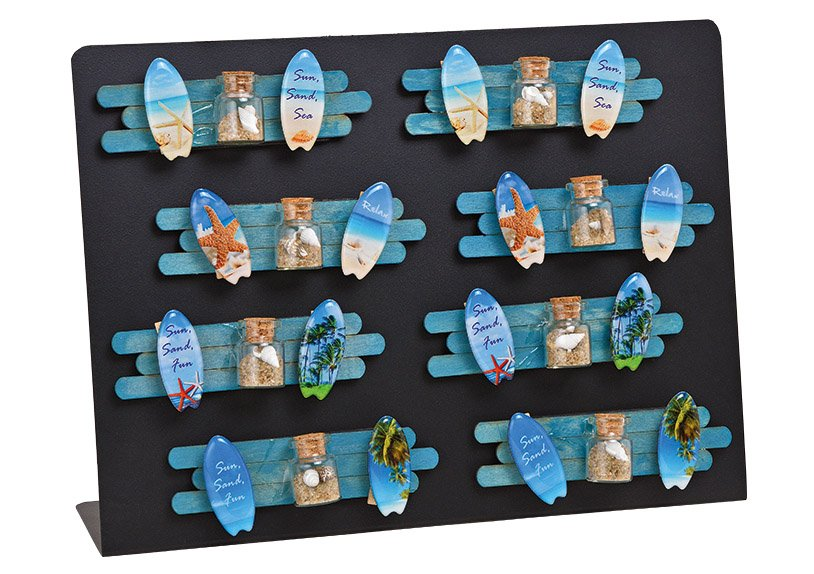 Magnet maritime desired glass with 2x colorful wood clamp  4-Asst. 16 Pcs. 12x3x1cm on metal board