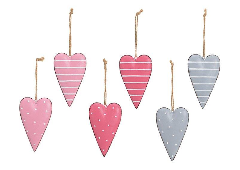 Hanger heart made of metal, 6-fold, (w / h / d) 6x11x1cm