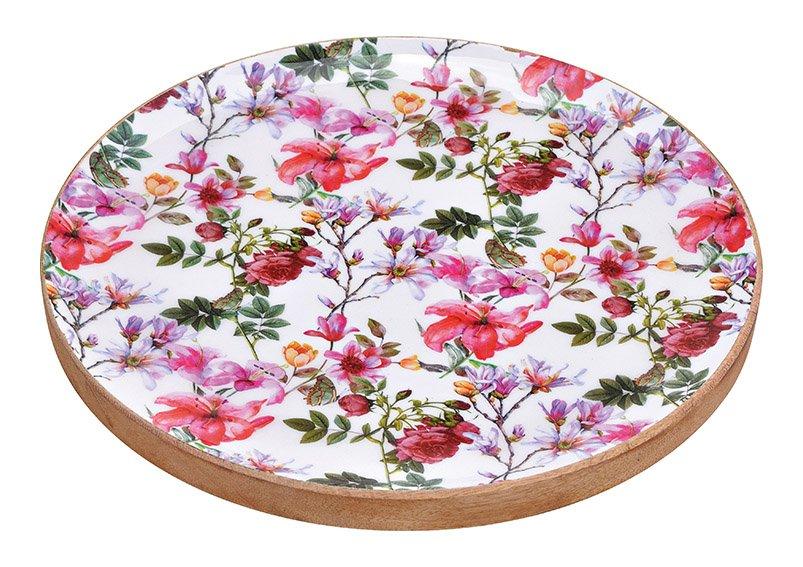 Tablett Blumen Dekor aus Mangoholz Bunt (B/H/T) 30x4x30cm Ø30cm