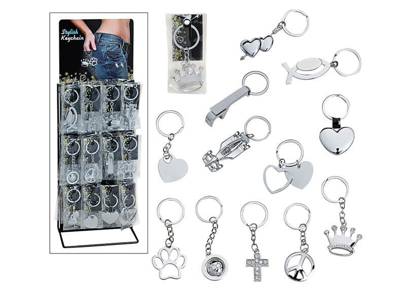 Hanging Key Chain different symbols metal, 12 assorted, 9cm, with stand
