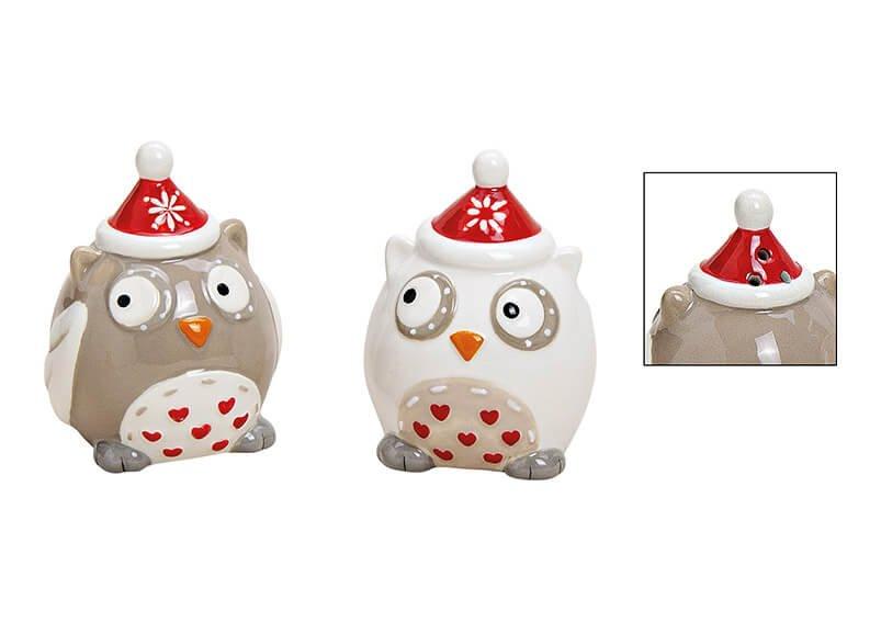Salz- und Pfefferstreuer Set Weihnachtseule aus Keramik Bunt 2er Set, (B/H/T) 5x7x5cm