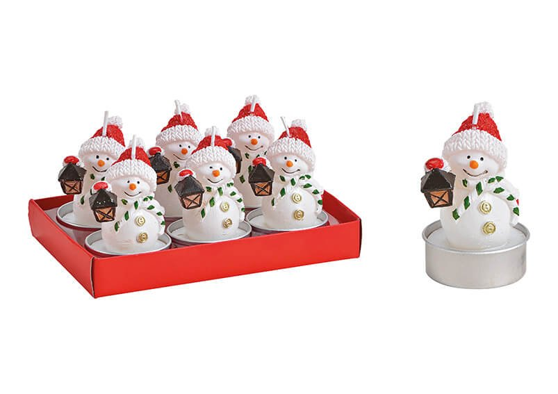 Tealight-set snowman 4x7x4cm wax white 6-set 14x9x7cm
