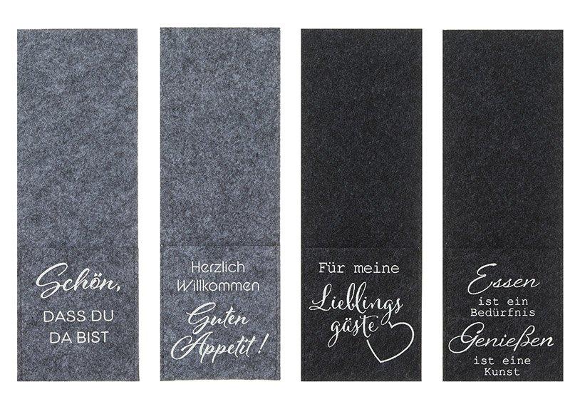 Bestecktasche Sprüche aus Filz Grau 4-fach, (B/H) 9x26cm