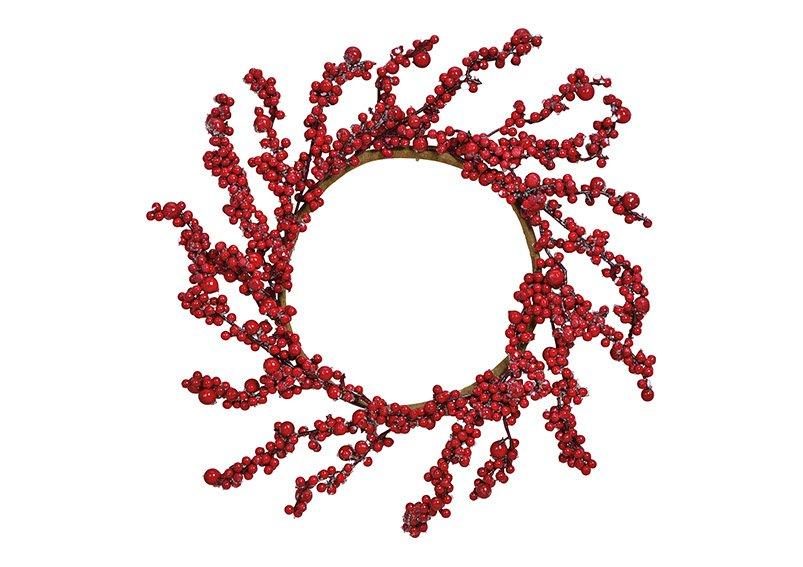 Berry wreath plastic red 40x40x3cm