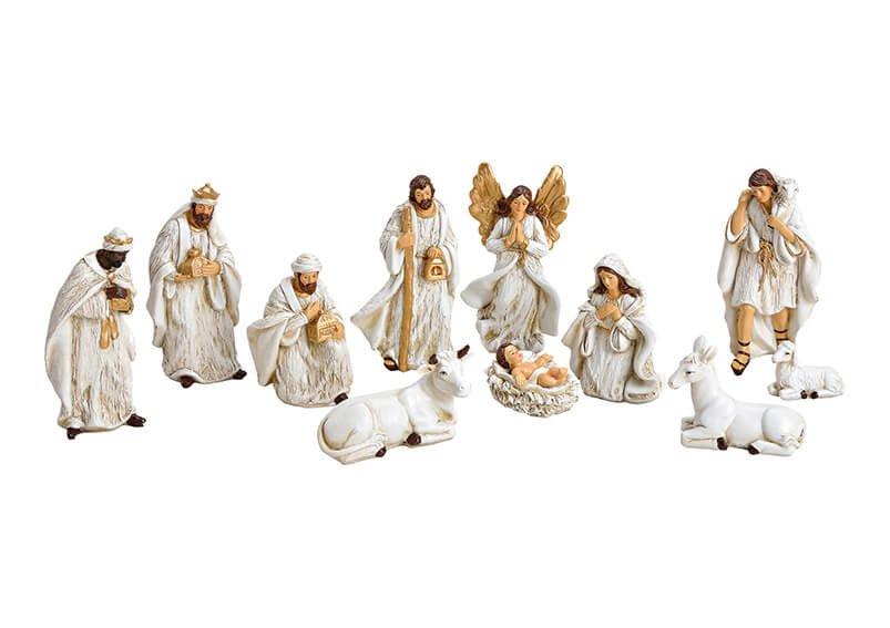 Krippenfiguren-Set aus Poly Antik Weiß 11er Set, (H) 4-15cm