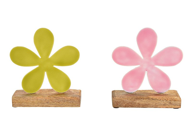 Aufsteller Blume aus Metall auf  Mangoholz Sockel Pink/Rosa, grün 2-fach, (B/H/T) 15x17x5cm