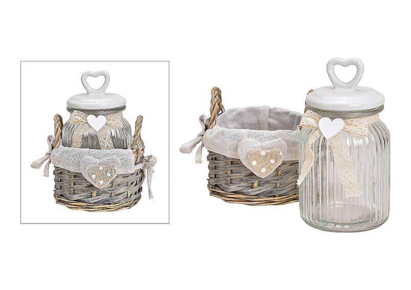 Vorratsdose im Weidenkorb aus Glas Transparent, mit Keramik Herz Deckel 2er Set, (B/H/T) 15x21x14cm