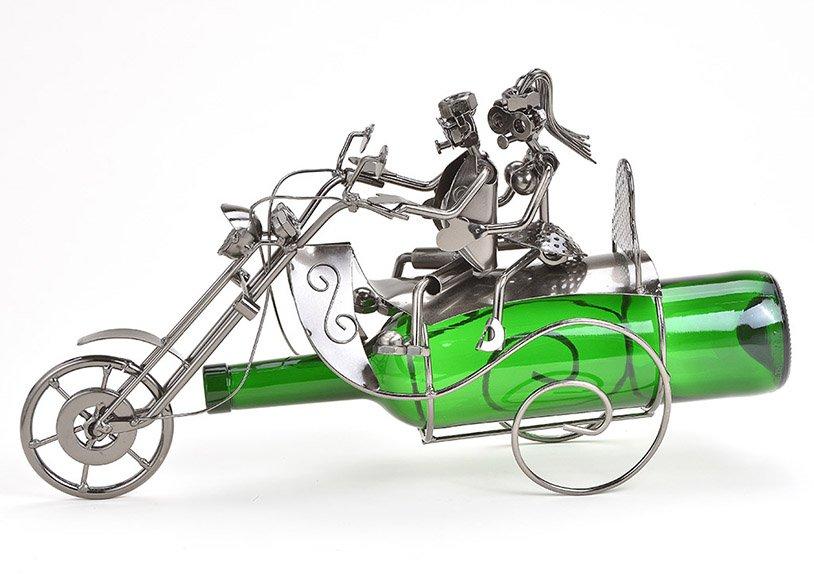 Flaschenhalter für Weinflasche Paar auf Motorrad aus Metall Schwarz (B/H/T) 36x23x11cm
