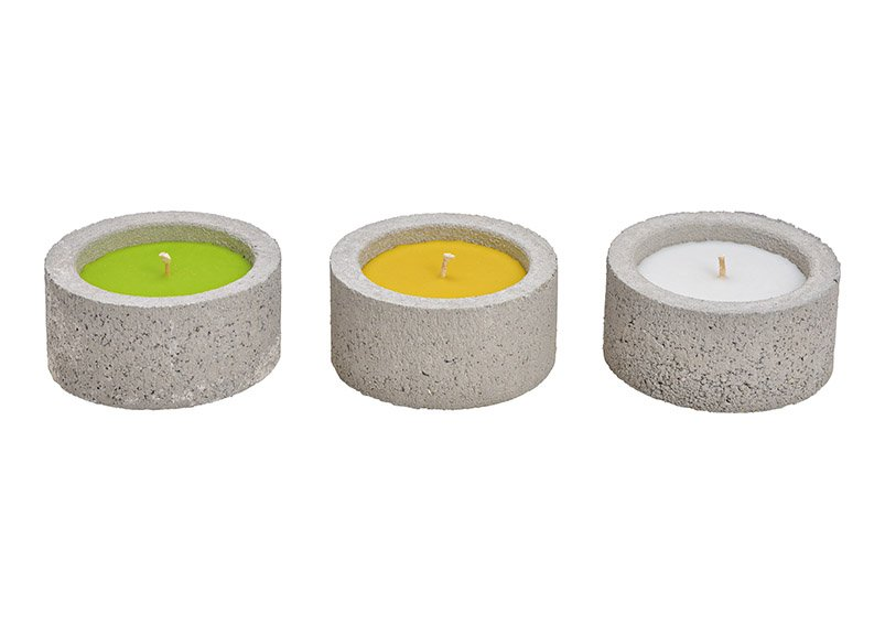 Citronella candle in concrete holder white, green, yellow 3-fold (w / h / d) 15x7.5x15cm, only for outdoor