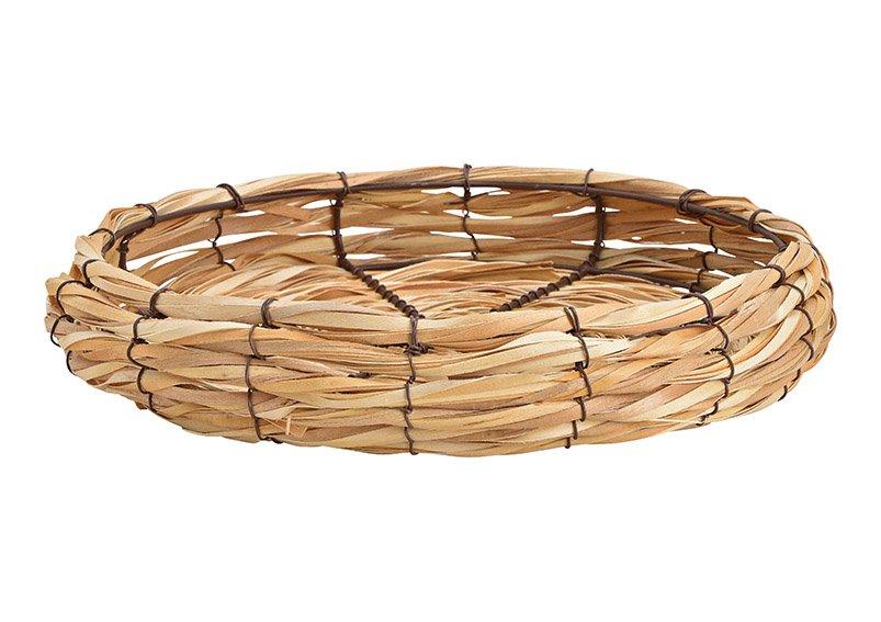 Bowl made of wood, metal natural (W / H / D) 33x7x33cm