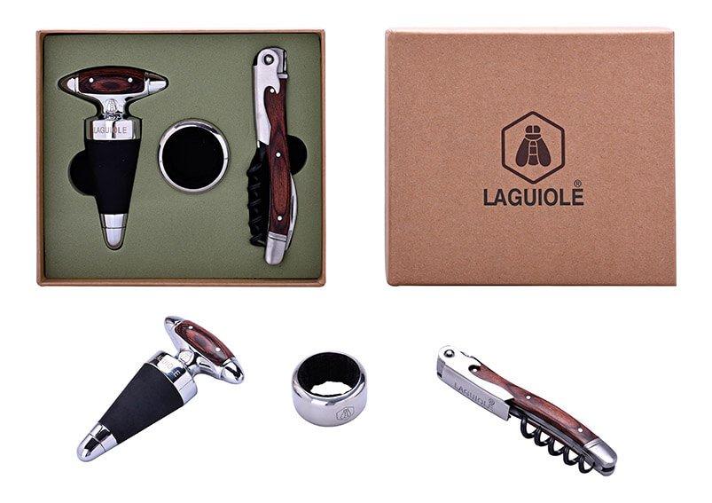 Geschenkset Laguiole Kellnermesser, Weinring, Flaschenverschluß aus Metall Silber 3er Set, (B/H/T) 16x14x4cm