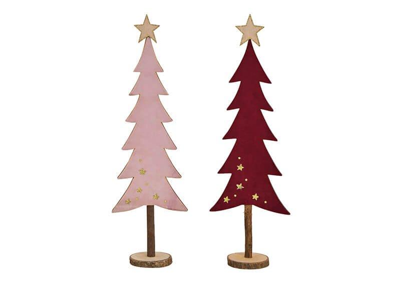 Tannenbaum aus Holz Bordeaux, pink 2-fach, (B/H/T) 13x44x7cm