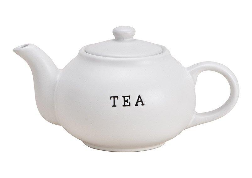 Teekanne TEA aus Keramik Weiß (B/H/T) 23x14x15cm 1200ml