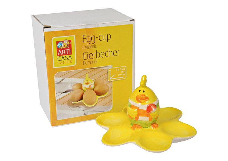 Egg Cup Stand Chicken, ceramic, yellow, (W/H/D) 15x10x15cm