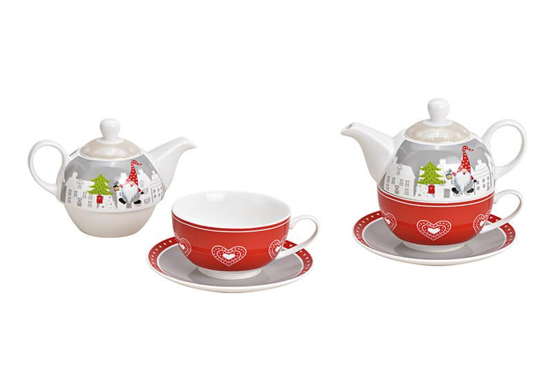 Teekannen Set Weihnachtswichtel Dekor aus Porzellan Rot 3er Set, (B/H/T) 17x15x17cm 400ml/200ml