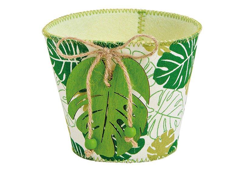 Basket, felt/textile, tropical leaf, green  (W/H/D) 13x11x13cm