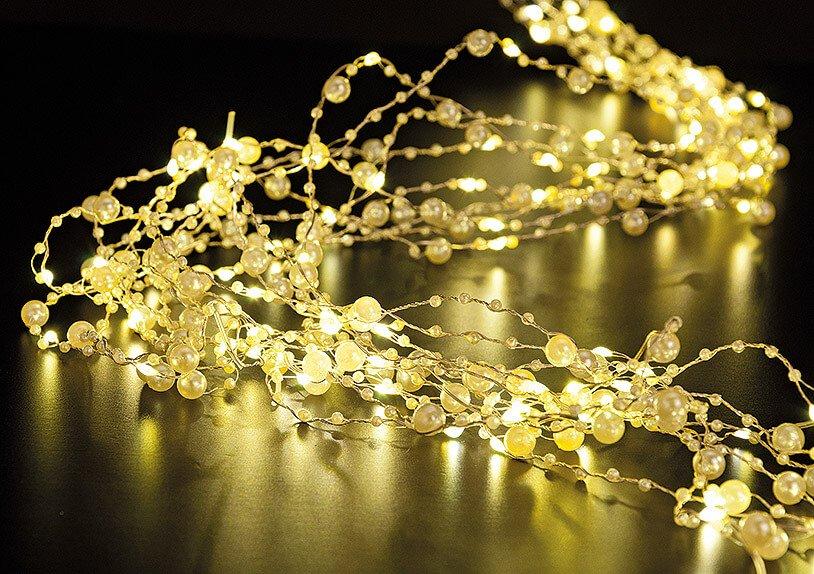 Lichterkette Perlen, mit Timer, 200er Micro, in warmweiß, 200 cm