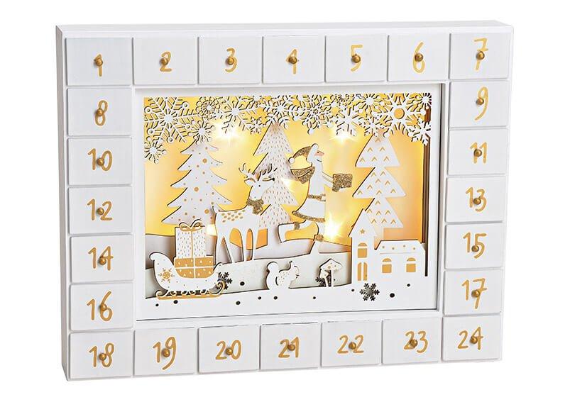 Adventskalender Nikolaus Winterwald, mit  5er LED Beleuchtung aus Holz Weiß (B/H/T) 35x27x6cm