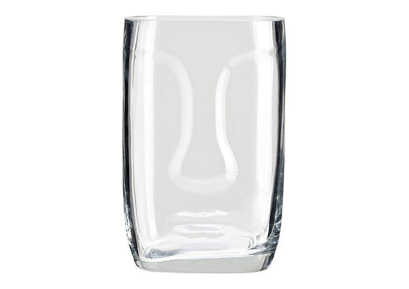 Vase face of glass Transparent (W/H/D) 13x20x11cm