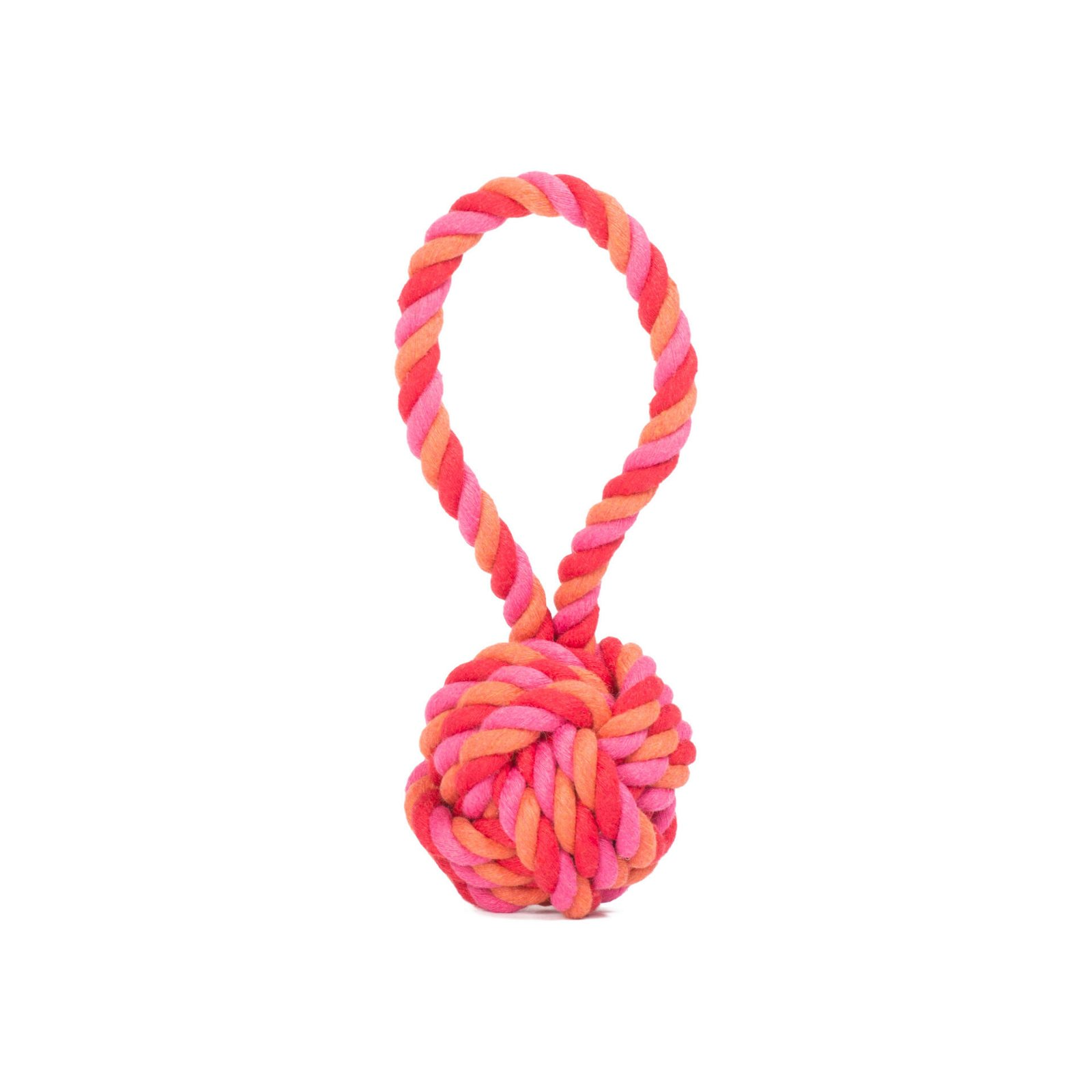 Hundespielzeug Max Schleuderball aus Baumwolltau - Pink/Rosa, zahnpflegend und robust, (B/H/T) 9x9x22 cm