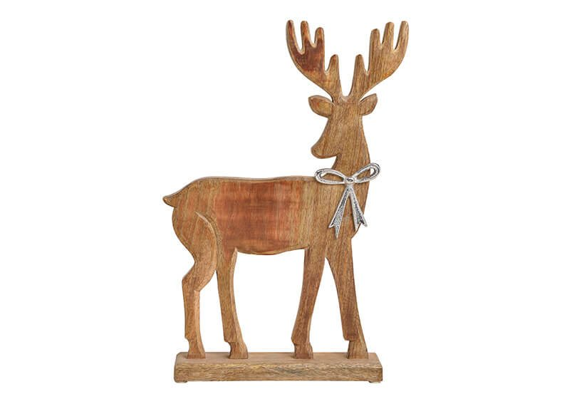 Aufsteller Elch mit Metallschleife aus Mango Holz Braun (B/H/T) 30x47x7cm