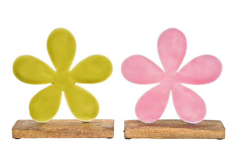 Aufsteller Blume aus Metall auf  Mangoholz Sockel  Pink/Rosa, grün 2-fach, (B/H/T) 22x20x5cm